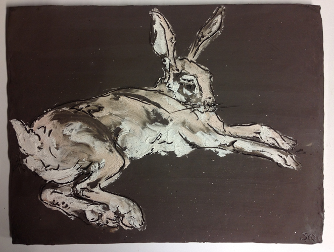 Drawings on clay. Hare 2014